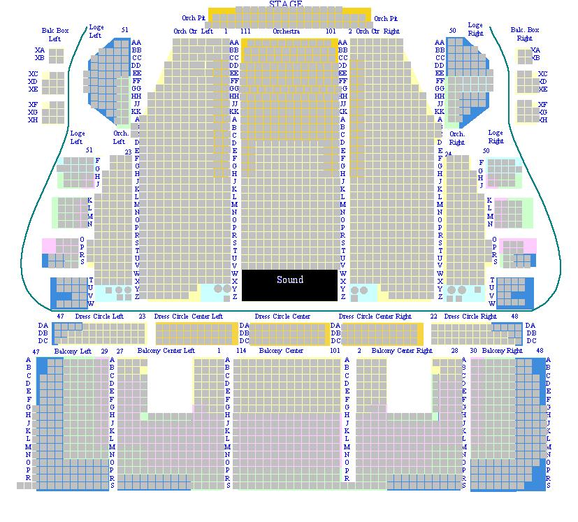 Seating map mainstage proctors 0 proctors