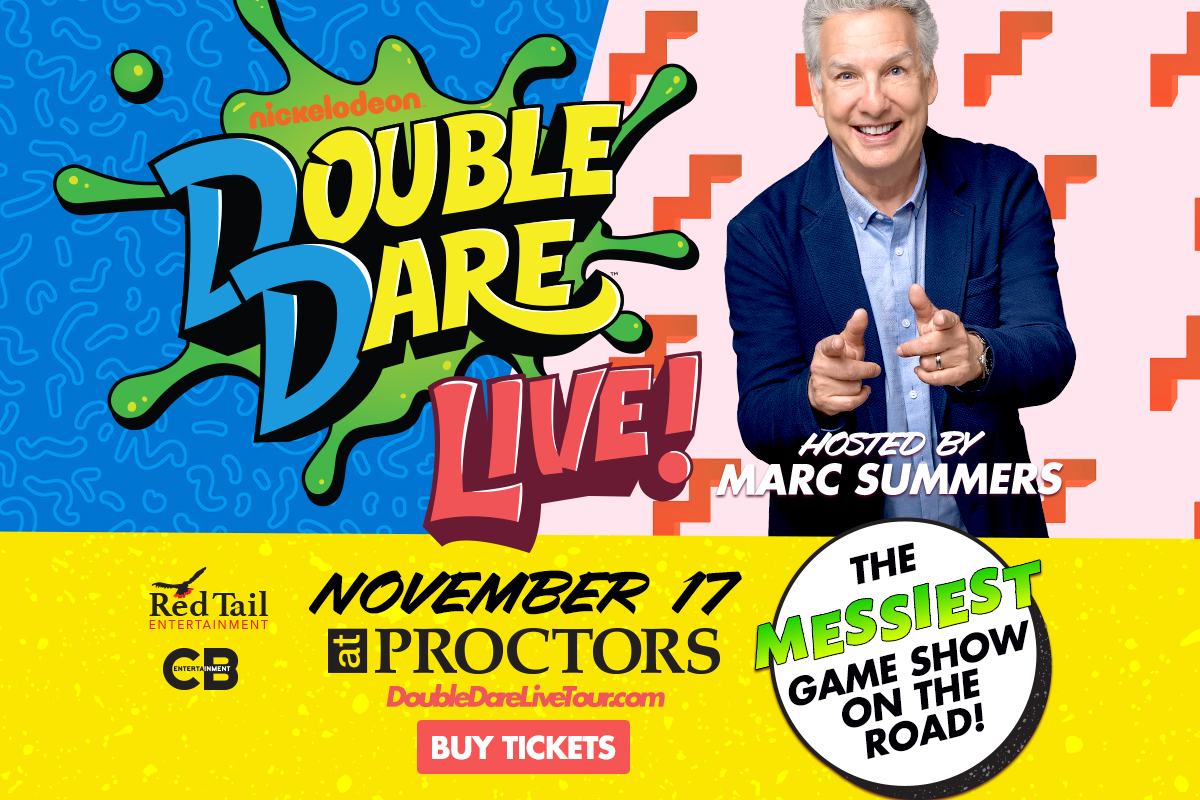 Image result for Double Dare LIVE ! on stage hosted by Marc Summers at Proctors