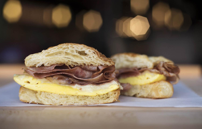A Croissantwich, one breakfast option at Apostrophe Cafe at Proctors. Photo taken Monday, April 9, 2018.