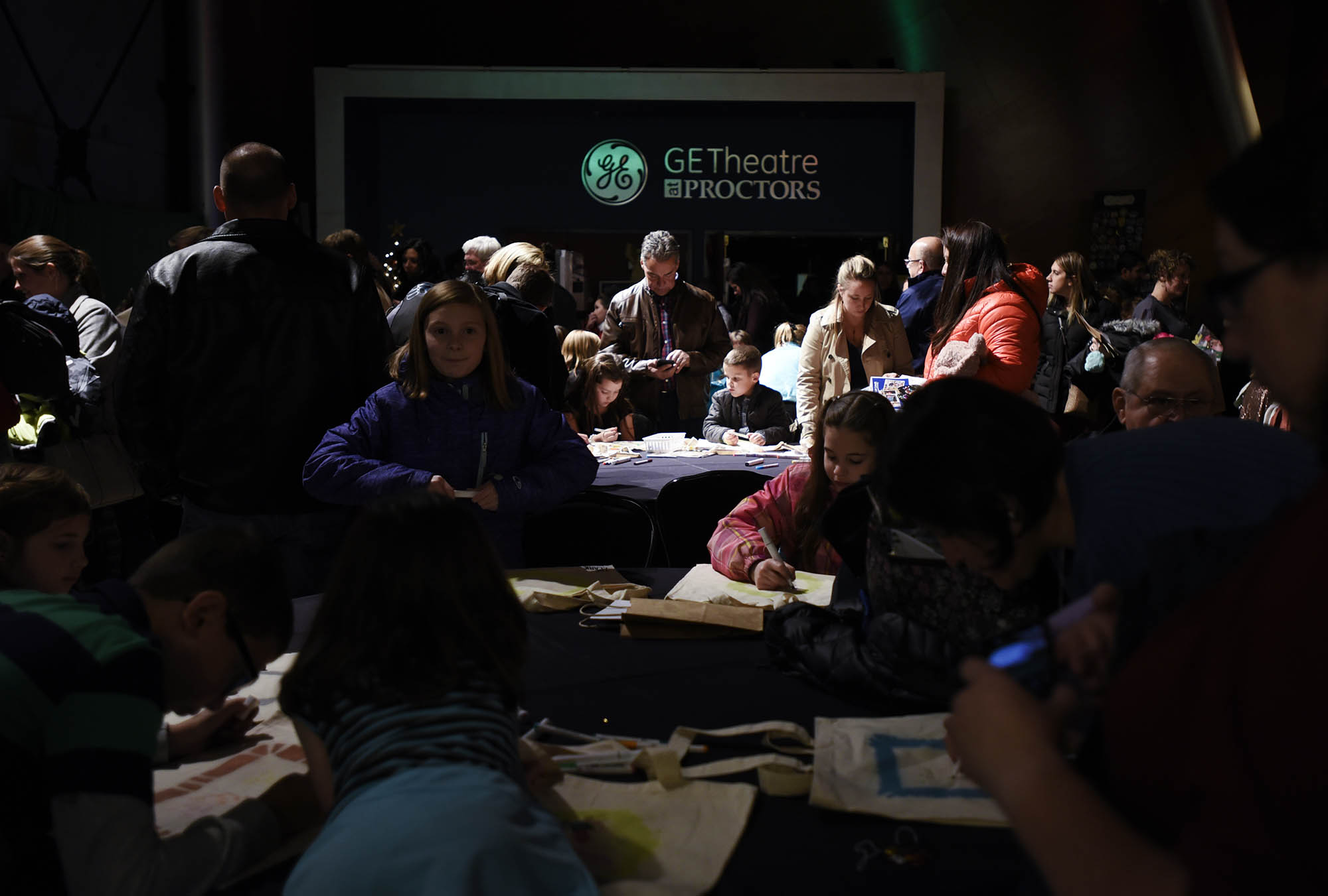 Children and families filled the GE Theatre and Robb Alley making arts and crafts, learning dances, having their faces painted and more during the first Kids Night on Broadway at Proctors before Finding Neverland Wednesday, December 6, 2017.