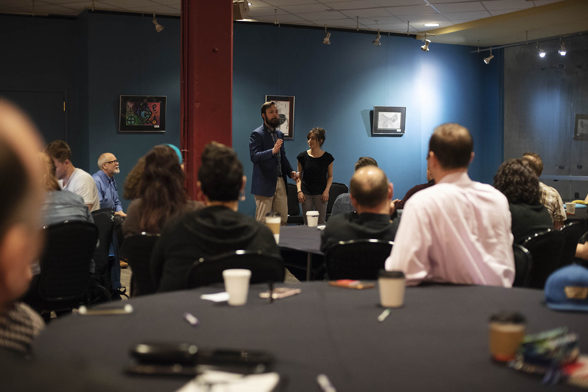 Conference goers meet in the Fenimore Gallery during TM3, Theatre Manager Third National Conference, at Proctors in Schenectady Thursday, May 3, 2018.