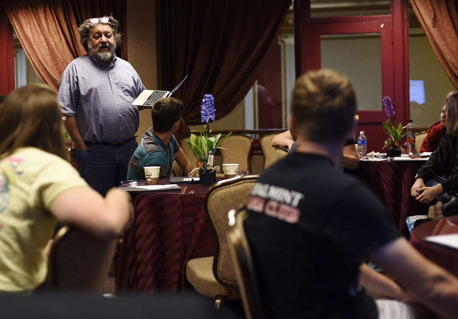 Proctors CEO Philip Morris talks to Broadway Tech students about the creative economy in the Guild Room at Proctors in Schenectady Thursday, September 28, 2017. Students spent four days with creative professionals from Proctors and The Color Purple during the show's teching period at the theatre.
